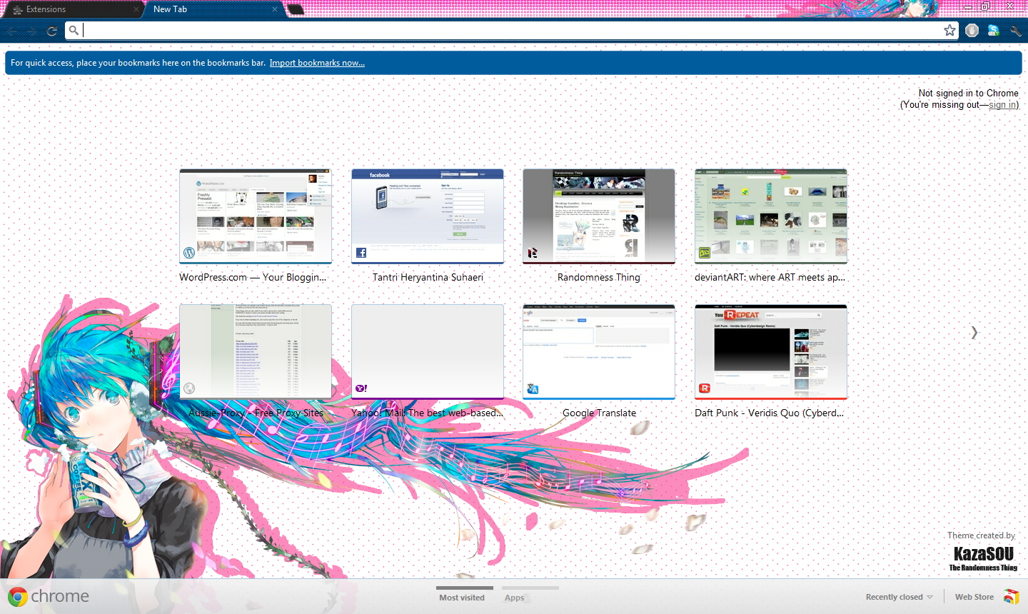 Vocalova - Hatsune Miku Google Chrome Theme 8